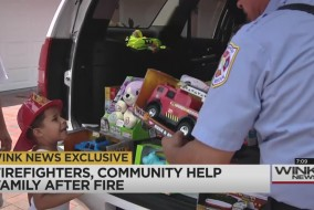 firefighters help family