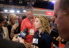 DNC Chairwoman Debbie Wasserman Schultz Inside the spin room following the GOP debate in Miami on Thursday. (Stan Chambers Jr./WINK News)