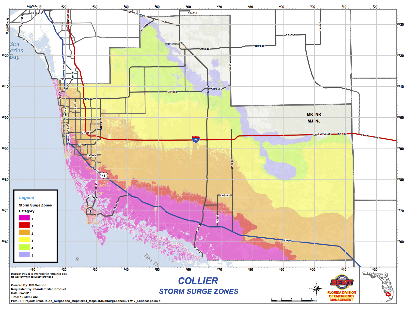 Collier County Wildfire Map.Collier County Storm Surge Zones