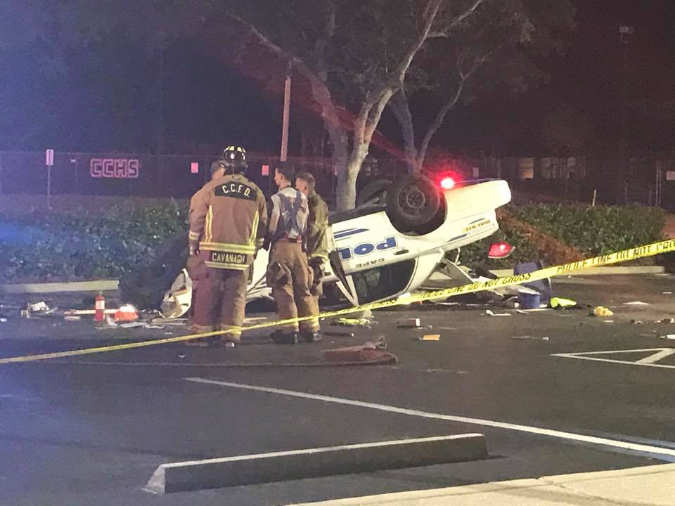 Cape Officer Injured As Squad Car Flips In Wreck