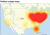Red zones on this map from Downdetector.com indicate widespread reports of Twitter outages Friday morning, Oct. 21, 2016. DOWNDETECTOR.COM
