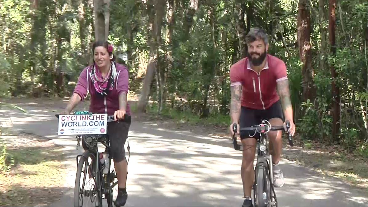 Couple cycling through North America makes SWFL stops