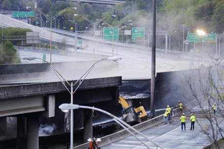 Homeless man charged in Atlanta highway bridge fire
