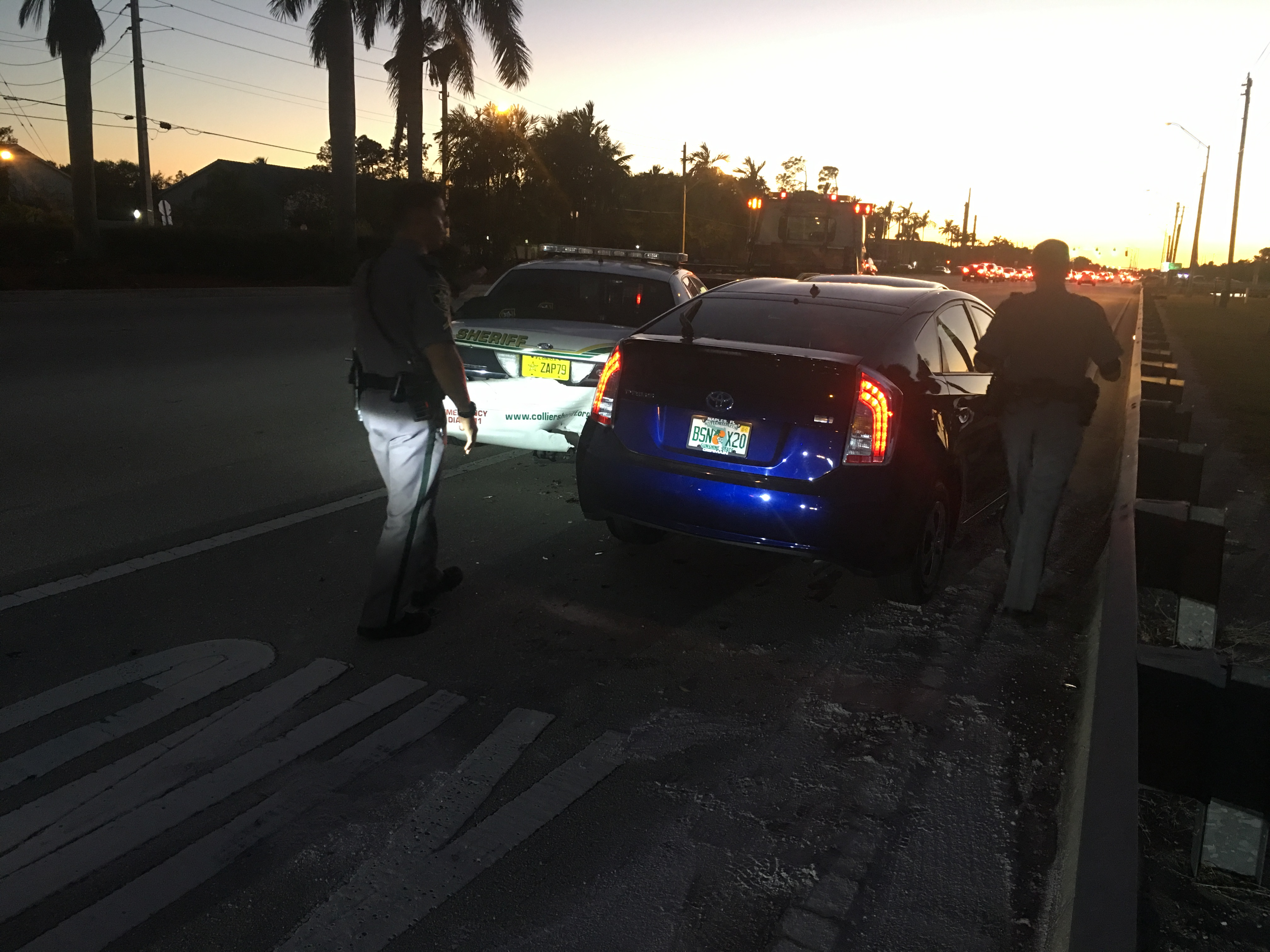 A toyota prius struck a collier county sheriff s office patrol car sunday night near the intersection of immokalee and livingston roads