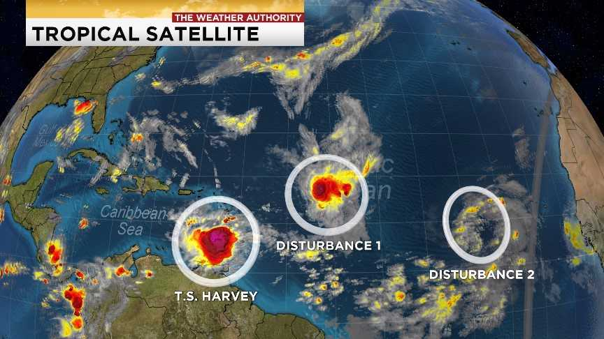 Tropical Storm Harvey forms East of St Lucia