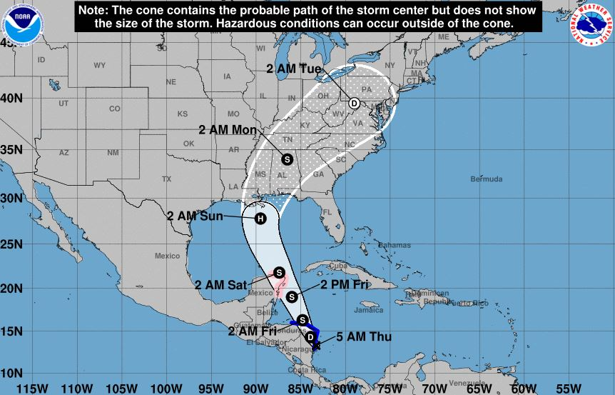Depression Strengthens Into Tropical Storm Nate