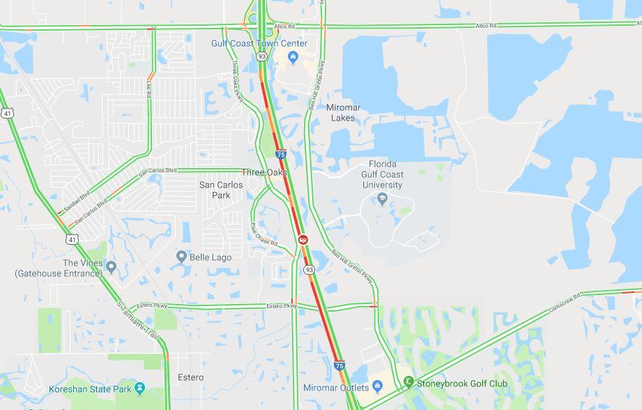 Google Traffic Map Florida.Crash Snarls Traffic For Portion Of I 75 In Lee County