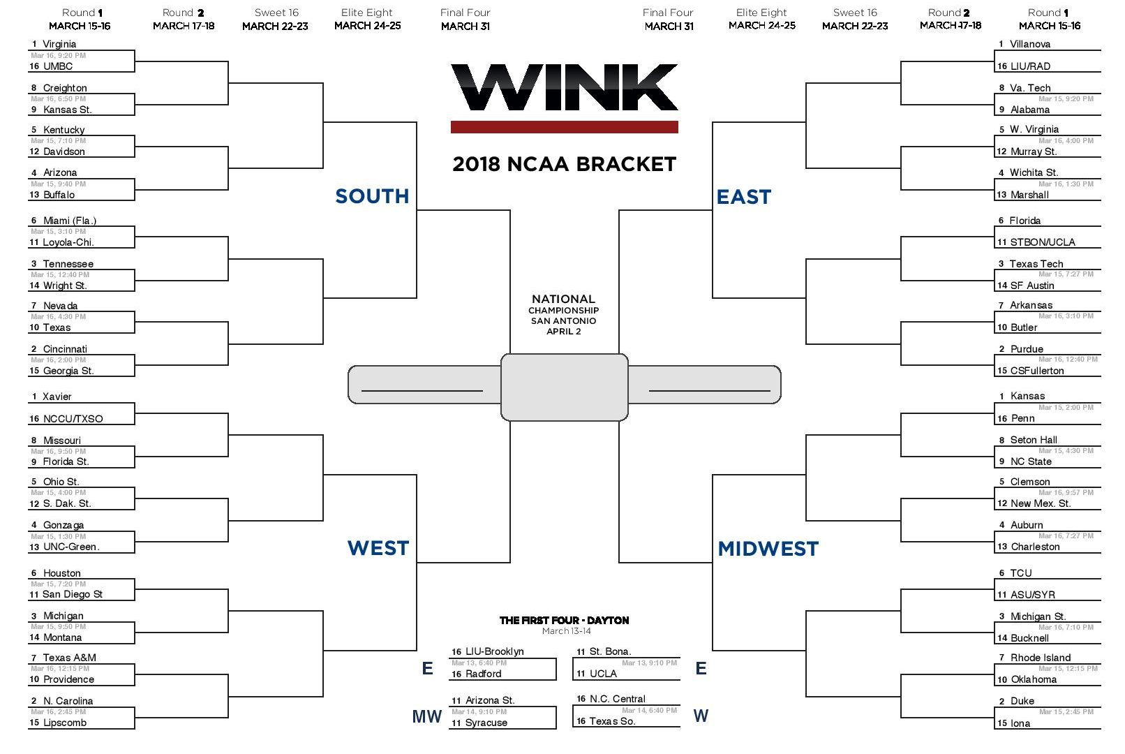 image regarding Printable March Madness Bracket identified as Printable March Insanity bracket for NCAA Match 2018