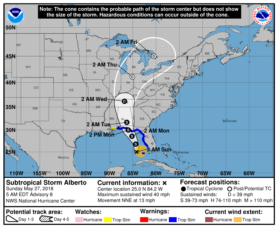 Sunda Evening Update on Subtropical Storm Alberto