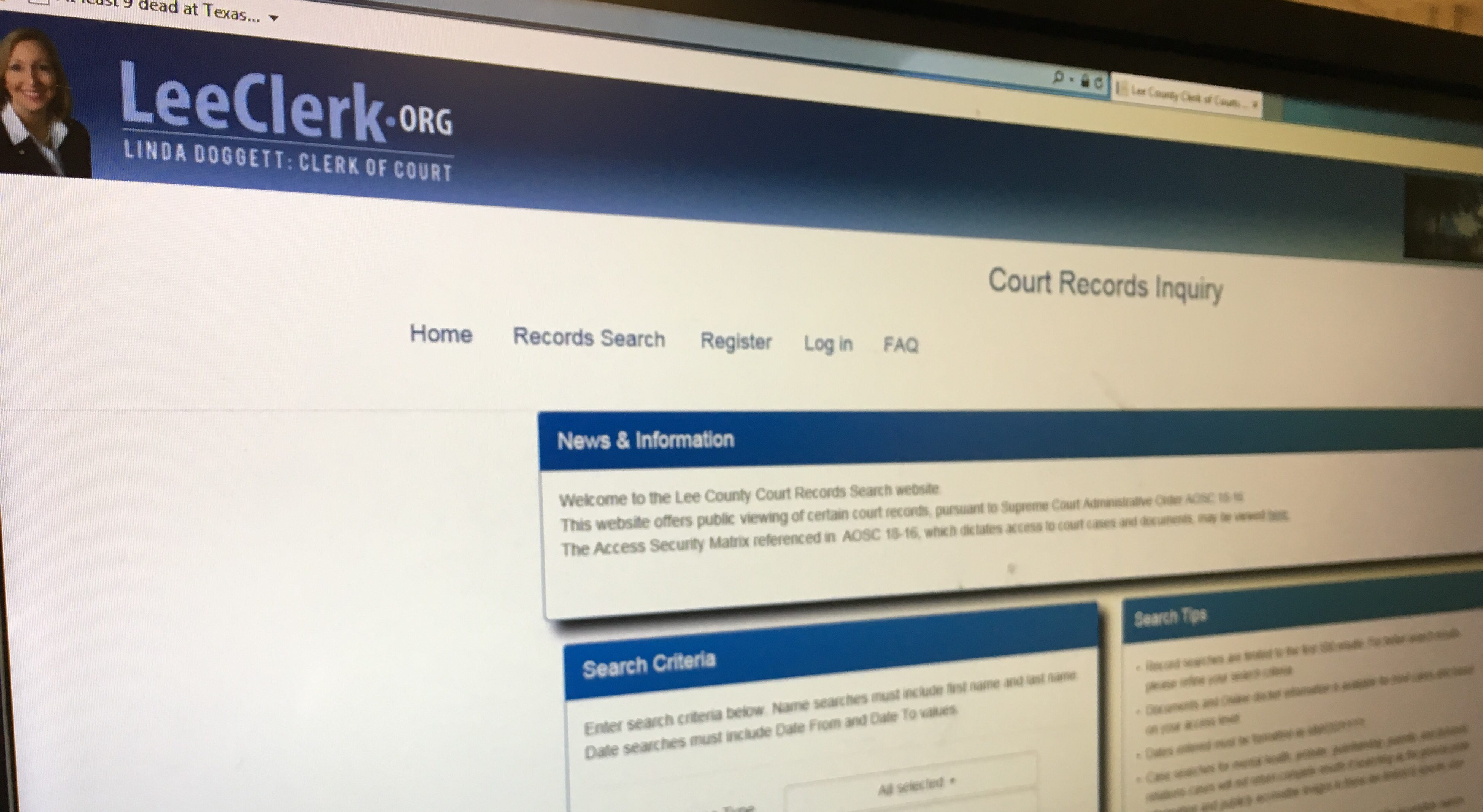 Cape Coral man says clerk of court allowed his private