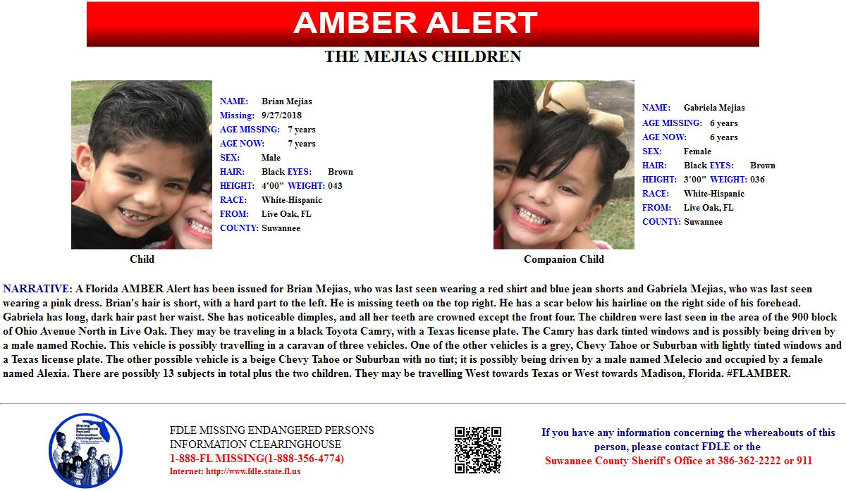 AMBER alert issued for two children out of Suwannee County