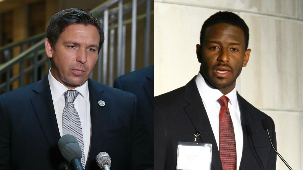 Gubernatorial candidates Ron DeSantis and Andrew Gillum. Photo via CBS News.