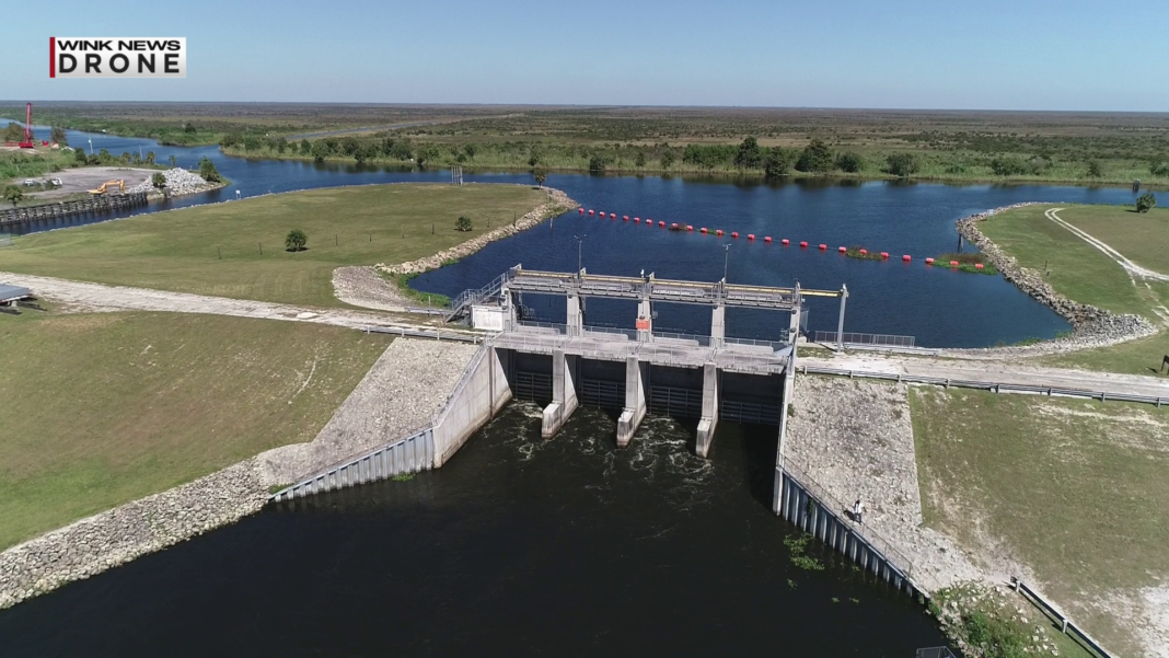 Water being released from Lake Okeechobee into the Caloosahatchee River on October 29, 2018. (Credit: WINK News)
