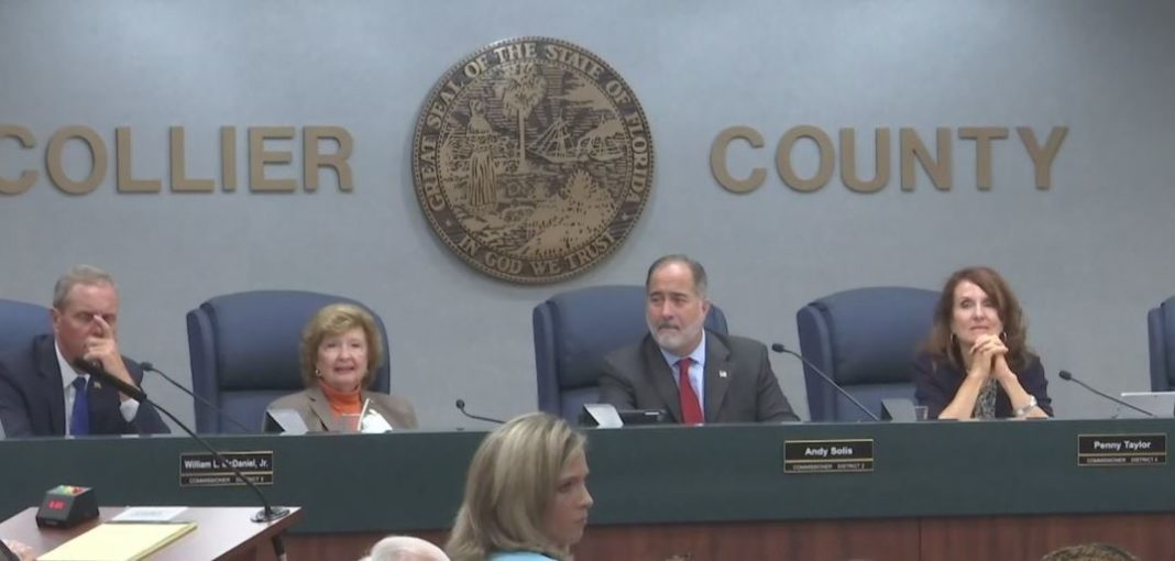 Collier County commissioners in session. Photo via WINK News.