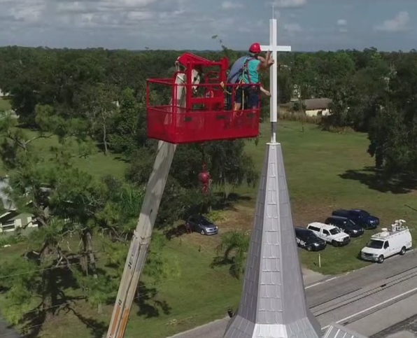Construction being done on the church. Photo via WINK News.