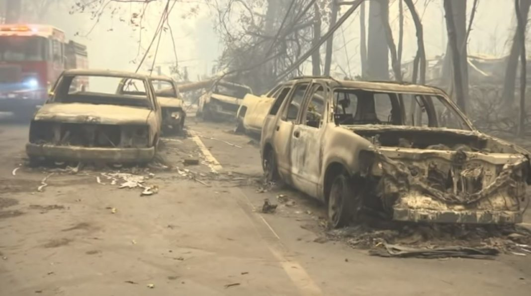 Destruction from the Camp Fire blaze in California. Photo via WINK News