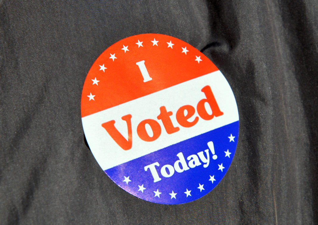 A voting sticker presented to a constituent after casting a ballot. Photo via CBS News.