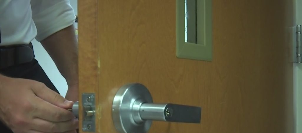 New safety measures at Lee County schools include locking doors from the inside. Photo via WINK News.