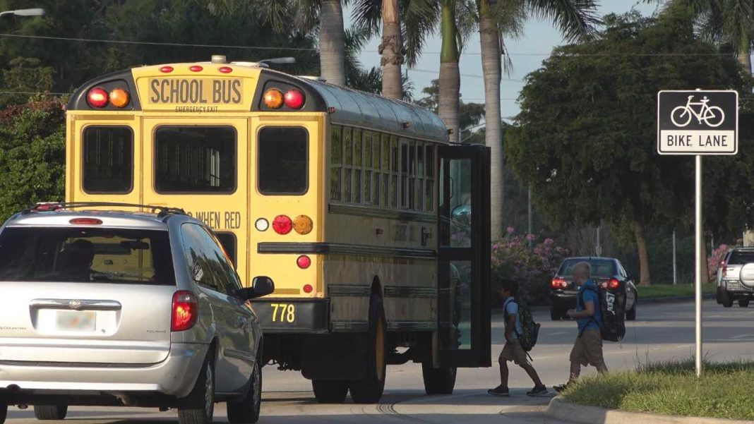 School bus stops to pickup a young student. (CCSO photo)