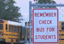 Sign reminds drivers to be alert to student safety. Photo via WINK News.