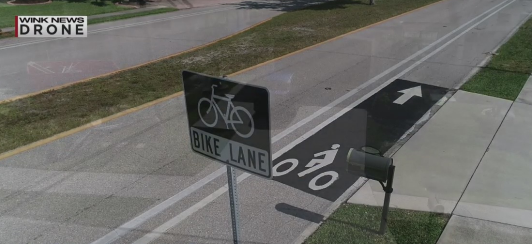 The black bike path outside of Dana Miller's driveway. Photo via WINK News.