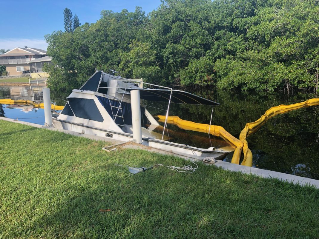 The scene of a diesel fuel spill from a 35 ft inboard boat on Thursday. Photo via WINK News.