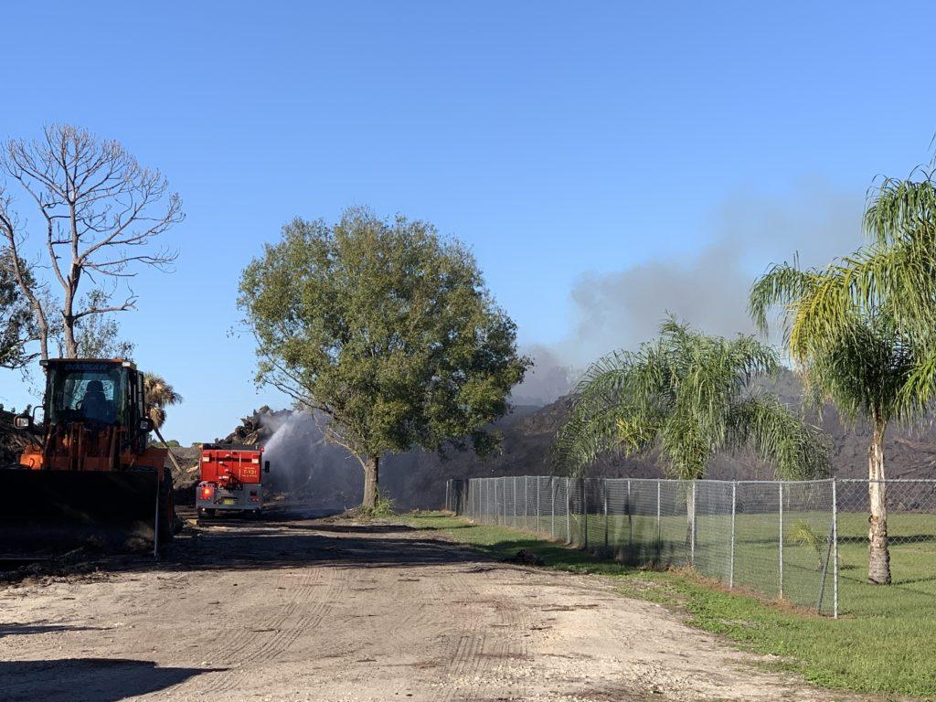 A mulch fire on Tuesday. Photo via WINK News.