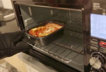A toaster oven reheating food. Photo via Consumer Reports.