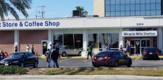 A vehicle has crashed into the front of St. Matthew Thrift Store in Fort Myers. Crash at St. Matthew Thrift Store in Fort Myers. Photo via Juan Vidaurri.