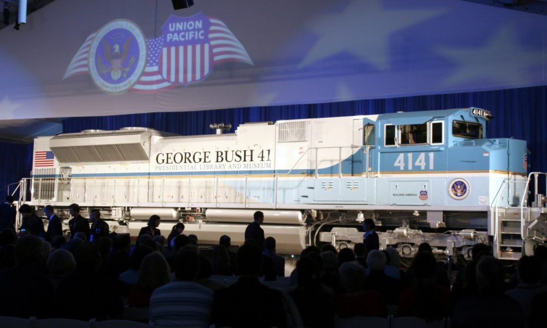FILE - In this Oct. 18, 2005, file photo, a new locomotive numbered 4141 in honor of the 41st president, George H.W. Bush, is unveiled at Texas A&M University in College Station, Texas. Photo via AP/Pat Sullivan.