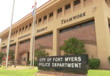 Outside of the City of Fort Myers Police Department. Photo via WINK News.