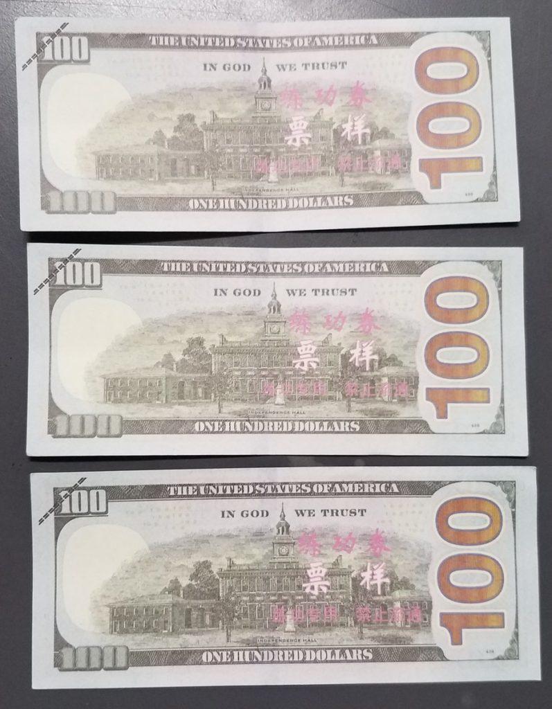 Federal reserve note replicas back. Photo via CCSO.