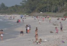 Many people out on the beach that will see revitalization soon. Photo via WINK News.