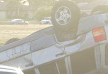 Overturned vehicle. Photo via WINK News.