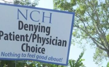 Sign claims the biggest medical groups in SWFL are denying patients the right to choose their own physician. Photo via WINK News.