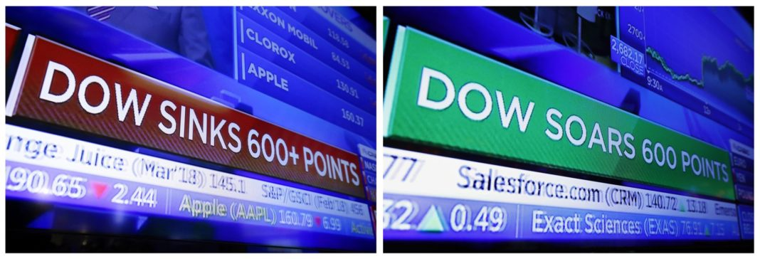 This combination photo shows a television screen on the floor of the New York Stock Exchange with a headline for the Dow Jones industrial average on Feb. 2, 2018, left, and another on Nov. 28. No matter which way the stock market goes in 2019, and Wall Street has ample arguments for either direction, expect it to be another gut-wrenching ride. Photo via AP/Richard Drew.