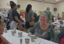 Two strangers meet one another at the Christmas dinner. Photo via WINK News.