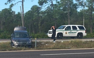 Scene at I-75 southbound between mile marker 128 to mile marker 125. Photo via WINK News.