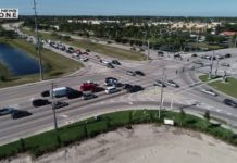 Busy intersection traffic in Cape Coral on Monday, Jan. 7, 2018. Photo via WINK News.
