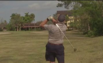 Collier County is in negotiations for the land the nearby homeowner is golfing on. WINK News photo.