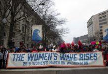 Demonstrators march on Pennsylvania Av. during the women's march in Washington on Saturday, Jan. 19, 2019. Photo via AP/Jose Luis Magana.