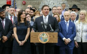 Florida Gov. Ron DeSantis speaks at a press conference at the Jewish Federation of South Palm Beach County in Boca Raton, Fla. Tuesday, Jan. 15, 2019. Photo via AP/Bruce R. Bennett.