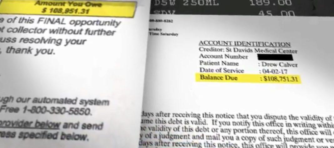 Hospital bill. Photo via CBS News.
