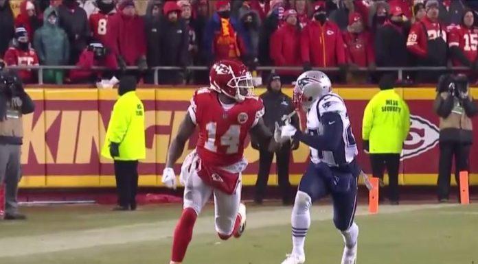 JC Jackson covers a Chiefs wide receiver. Photo via CBS Sports.