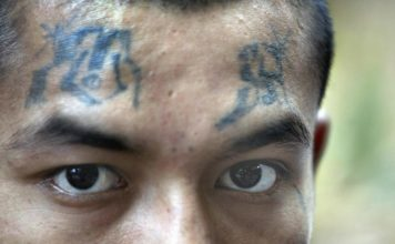 Member of the Mara Salvatrucha, or MS-13, gang. Photo via CBS News.