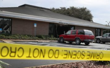 The SunTrust Bank branch where five women were slain Wednesday. CBS News photo.