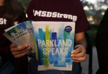 """In this Wednesday, Jan. 16, 2019, photo, Leni Steinhardt, 16, reads from a new book called """"Parkland Speaks: Survivors from Marjory Stoneman Douglas Share Their Stories,"""" during an interview with The Associated Press, in Parkland, Fla. AP Photo/Brynn Anderson."""