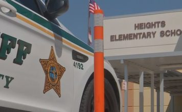 Police presence at a Lee County elementary school. Photo via WINK News.