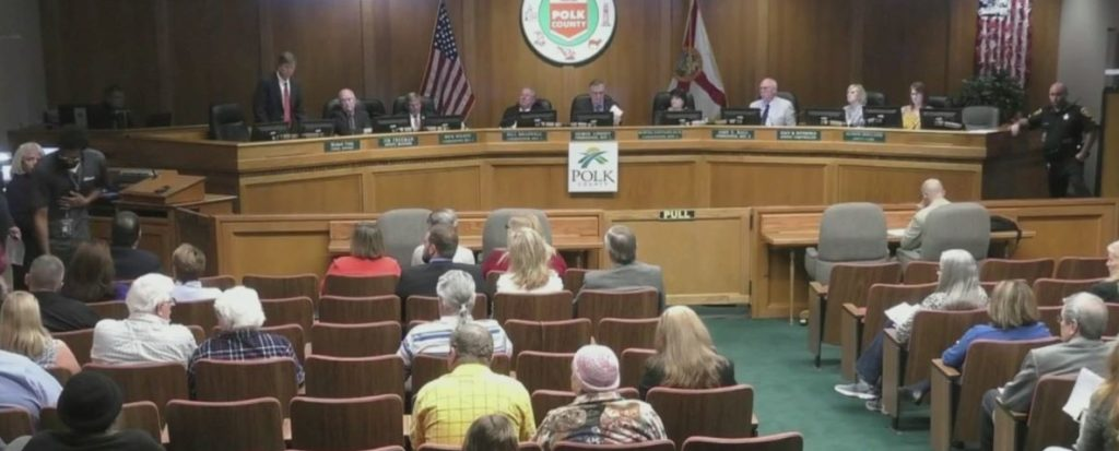 Polk County Dunbar sludge commissioners meeting. Photo via WINK News.