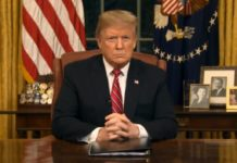 President Trump delivers an Oval Office address on Tuesday, Jan. 8, 2018. Photo via WINK News.
